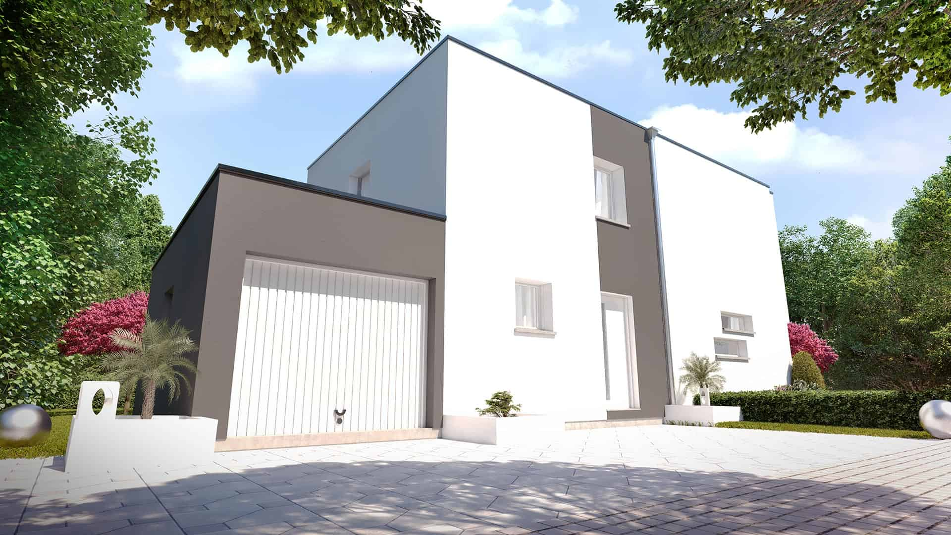 Maison toit plat avec garage accolé - First M3