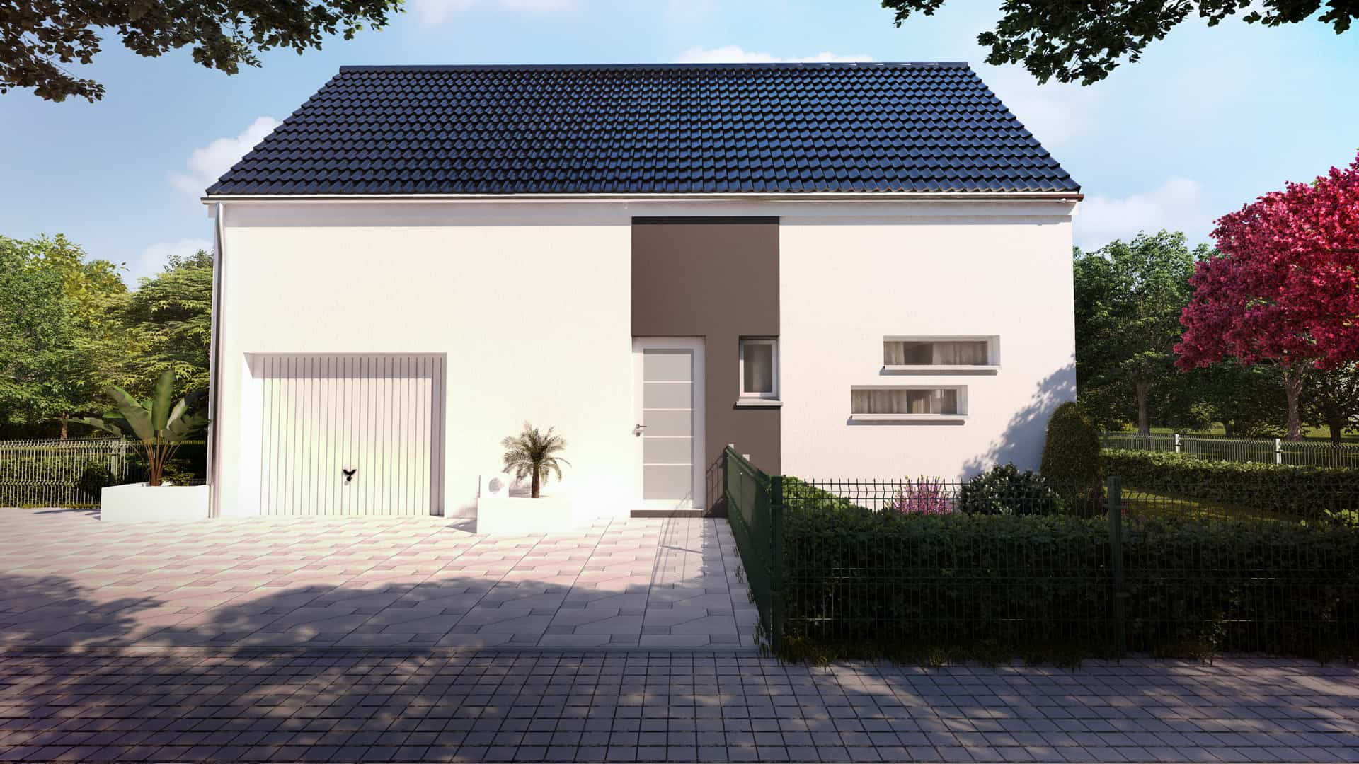 Construction contemporaine avec toit en deux pans - First M3